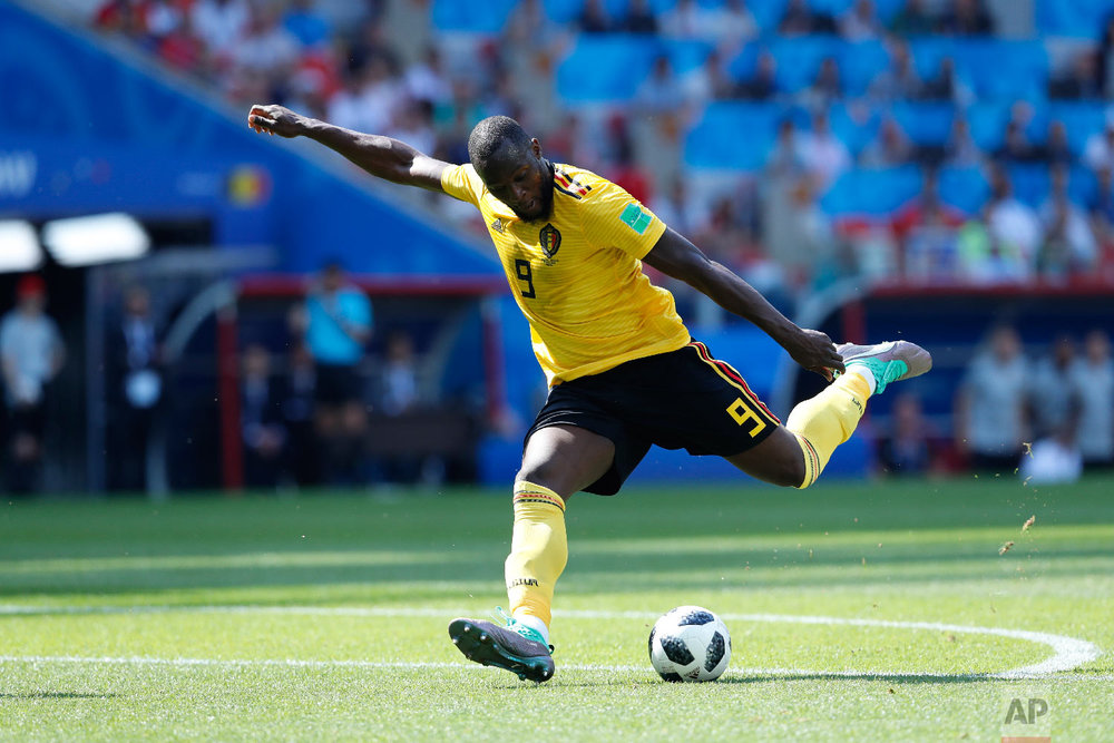 Belgium's Romelu Lukaku scores his side's second goal during the group G match between Belgium and Tunisia at the 2018 soccer World Cup in the Spartak Stadium in Moscow, Russia, Saturday, June 23, 2018. (AP Photo/Hassan Ammar)