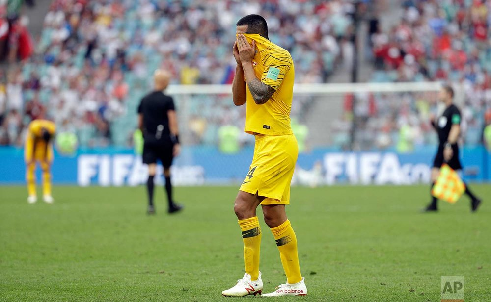 Australia's Tim Cahill reacts in dejection at the end of the group C match between Australia and Peru, at the 2018 soccer World Cup in the Fisht Stadium in Sochi, Russia, Tuesday, June 26, 2018. Peru won 2-0. (AP Photo/Gregorio Borgia)