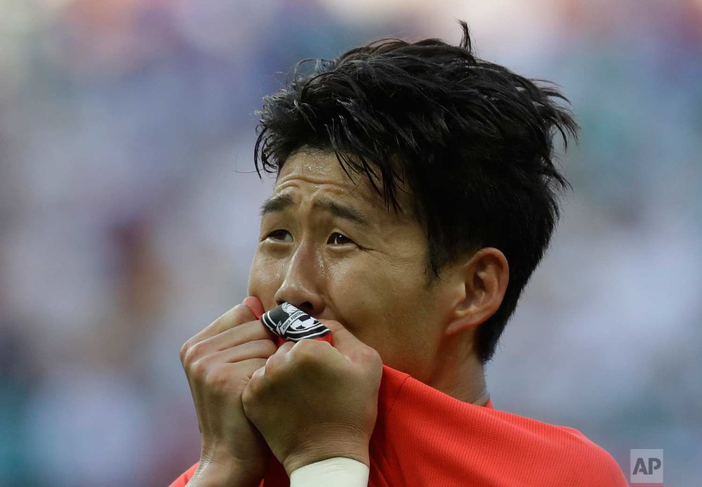 South Korea's Son Heung-min celebrates after scoring his side's second goal during the group F match between South Korea and Germany, at the 2018 soccer World Cup in the Kazan Arena in Kazan, Russia, Wednesday, June 27, 2018. (AP Photo/Michael Probst)