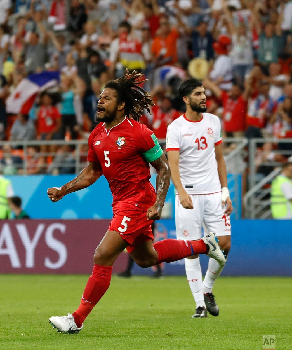 Panama's Roman Torres celebrates after an own goal by Tunisia's Yassine Meriah during the group G match between Panama and Tunisia at the 2018 soccer World Cup at the Mordovia Arena in Saransk, Russia, Thursday, June 28, 2018. (AP Photo/Darko Bandic)