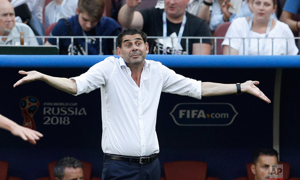 Spain head coach Fernando Hierro reacts during the round of 16 match between Spain and Russia at the 2018 soccer World Cup at the Luzhniki Stadium in Moscow, Russia, Sunday, July 1, 2018. (AP Photo/Victor R. Caivano)