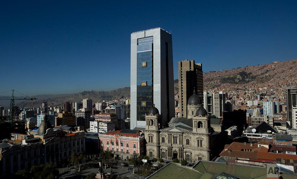 Bolivia's new presidential palace stands tall in the historic district of downtown La Paz, Bolivia, June 20, 2018. The 28-floor palace, including a helipad, a jacuzzi suite, massage room and gym, cost 34 million dollars in South America's poorest nation. (AP Photo/Juan Karita)
