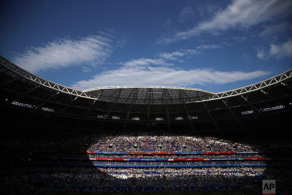 Spectators on the stands wait for the start of the quarterfinal match between Sweden and England at the 2018 soccer World Cup in the Samara Arena, in Samara, Russia, Saturday, July 7, 2018. (AP Photo/Thanassis Stavrakis)