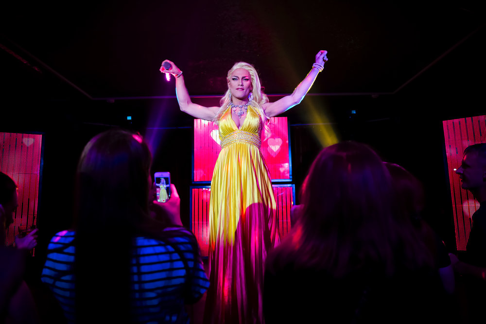 Andrei, who uses the stage name Star Vasha performs at the Fame gay club, during the 2018 soccer World Cup in Yekaterinburg, Russia on Sunday, June 24, 2018 (AP Photo/Vadim Ghirda)