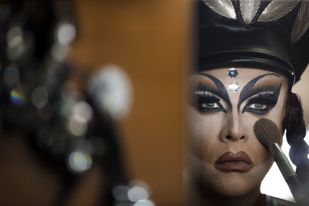 Sergey, who uses the stage name Bomba (the bomb) applies finishing touches to make-up at the Fame gay club, during the 2018 soccer World Cup in Yekaterinburg, Russia. (AP Photo/Natacha Pisarenko)