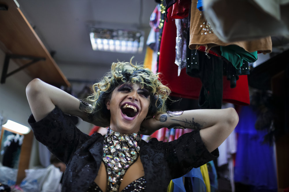 Markus, who uses the stage name Linda Fox, laughs backstage at the Fame gay club, during the 2018 soccer World Cup in Yekaterinburg, Russia on Sunday, June 24, 2018. (AP Photo/Natacha Pisarenko)