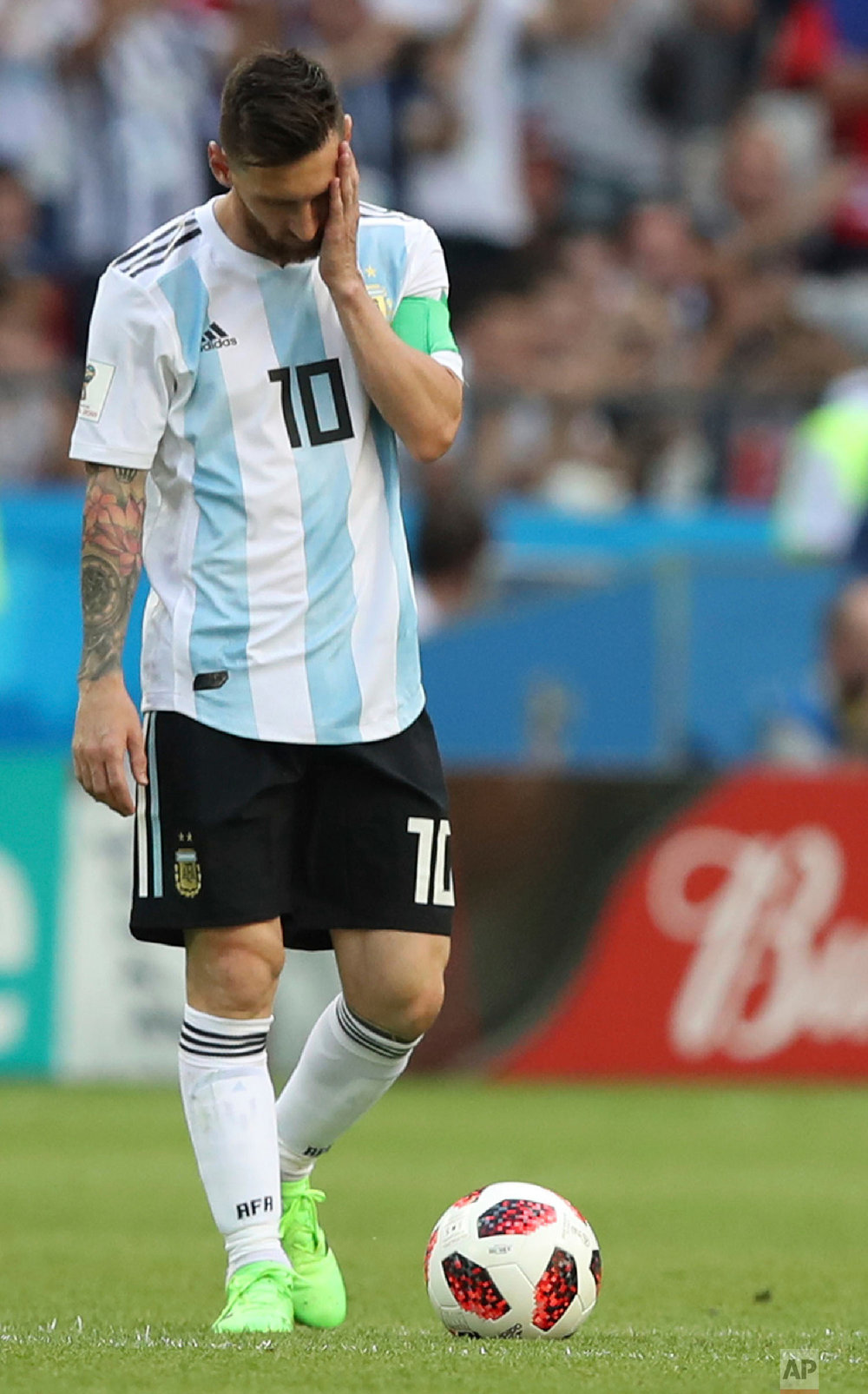 Argentina's Lionel Messi reacts after France takes the lead during the round of 16 match between France and Argentina, at the 2018 soccer World Cup at the Kazan Arena in Kazan, Russia on June 30, 2018. (AP Photo/Thanassis Stavrakis)
