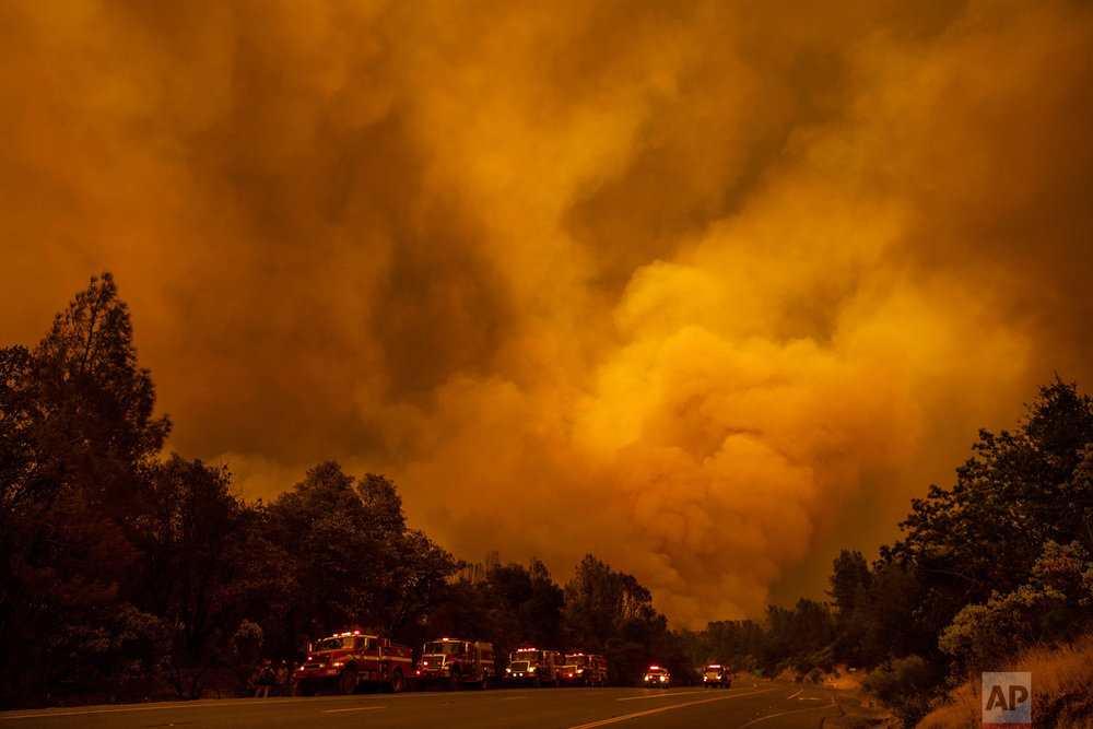The Carr Fire burns along Highway 299 in Shasta, Calif., on Thursday, July 26, 2018. (AP Photo/Noah Berger)