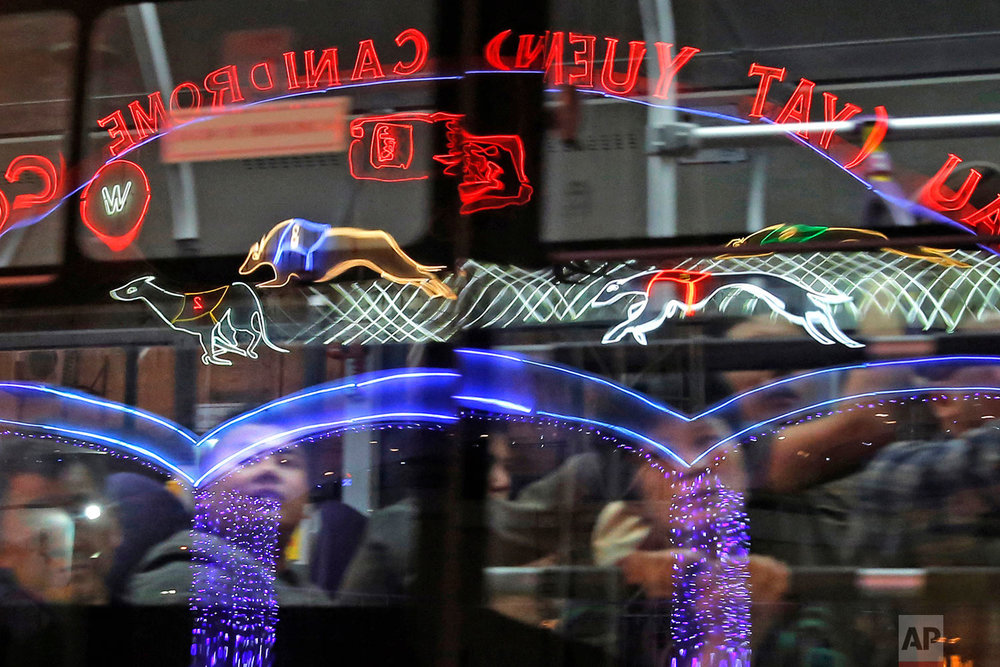 The gate of the Macau Yat Yuen Canidrome is reflected on a bus window in Macau. (AP Photo/Kin Cheung)