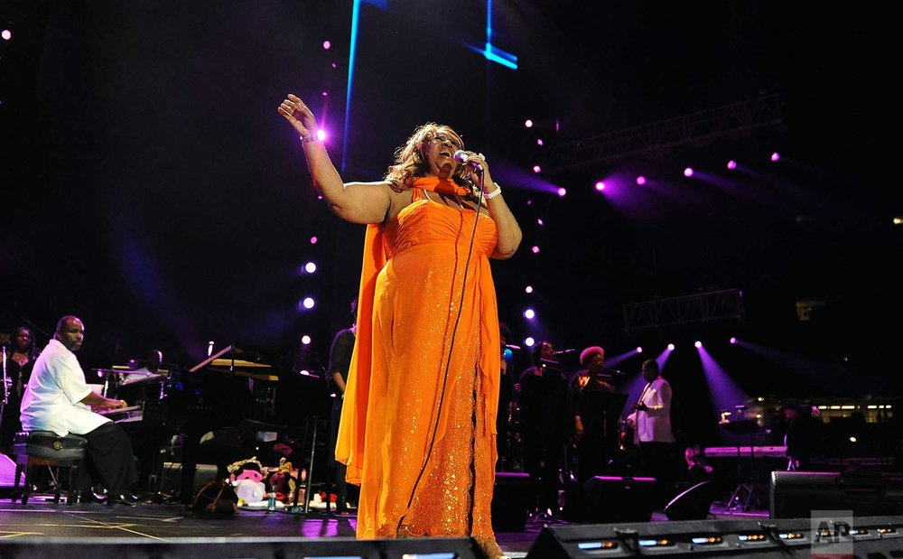 Aretha Franklin performs at the Essence Music Festival in New Orleans on Sunday, July 8, 2012. (Photo by Cheryl Gerber/Invision/AP)