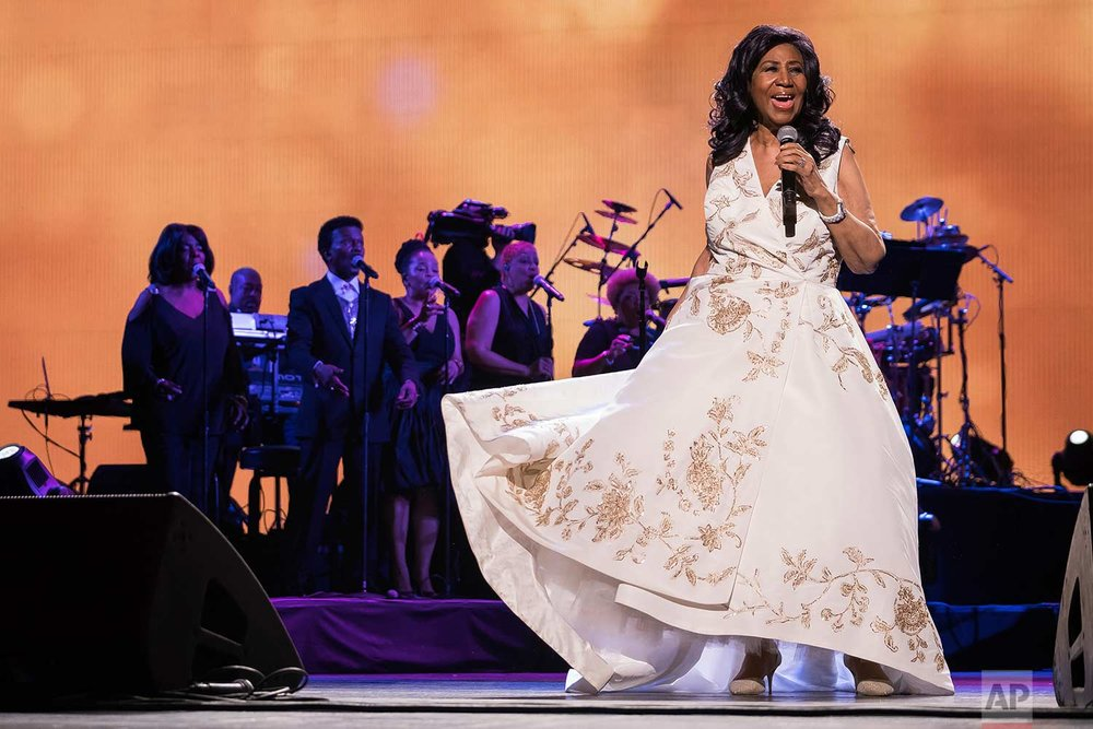 "Aretha Franklin performs at the world premiere of ""Clive Davis: The Soundtrack of Our Lives"" at Radio City Music Hall, during the 2017 Tribeca Film Festival, Wednesday, April 19, 2017, in New York. (Photo by Charles Sykes/Invision/AP)"