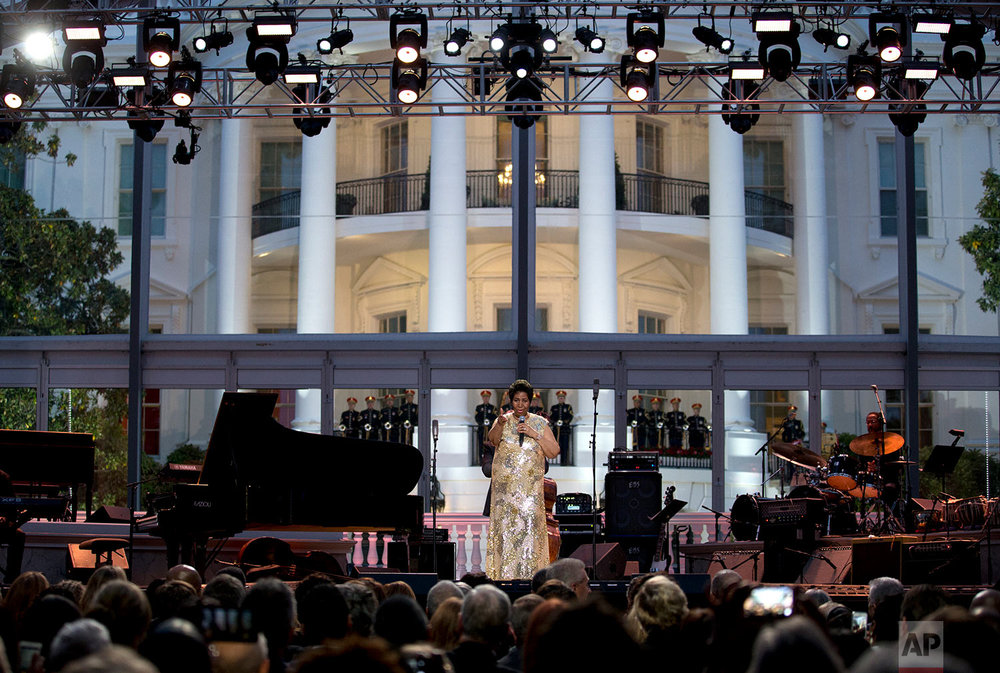 Aretha Franklin performs at the International Jazz Day Concert on the South Lawn of the White House of the Washington, Friday, April 29, 2016. (AP Photo/Carolyn Kaster)