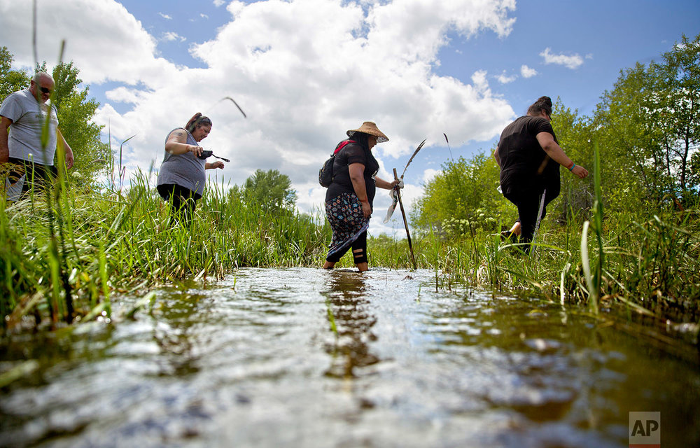 Kimberly Loring, from right, Roxanne White, Lissa Loring and George A. Hall, cross a creek looking for clues during a search in Valier, Mont., for the Lorings' sister and cousin, Ashley HeavyRunner Loring, July 11, 2018. (AP Photo/David Goldman)