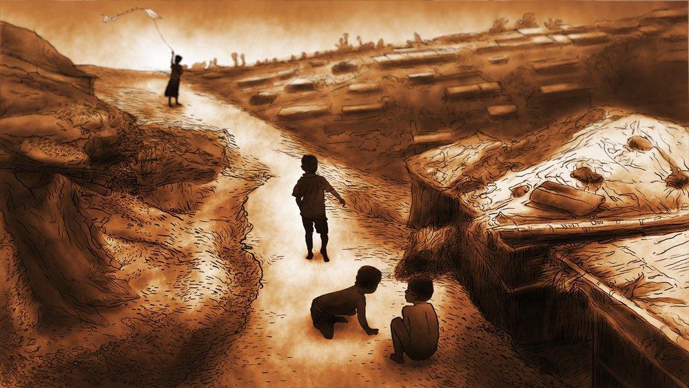 Illustration of Rohingya children playing along a refugee camp trail. (AP Illustration/Peter Hamlin)