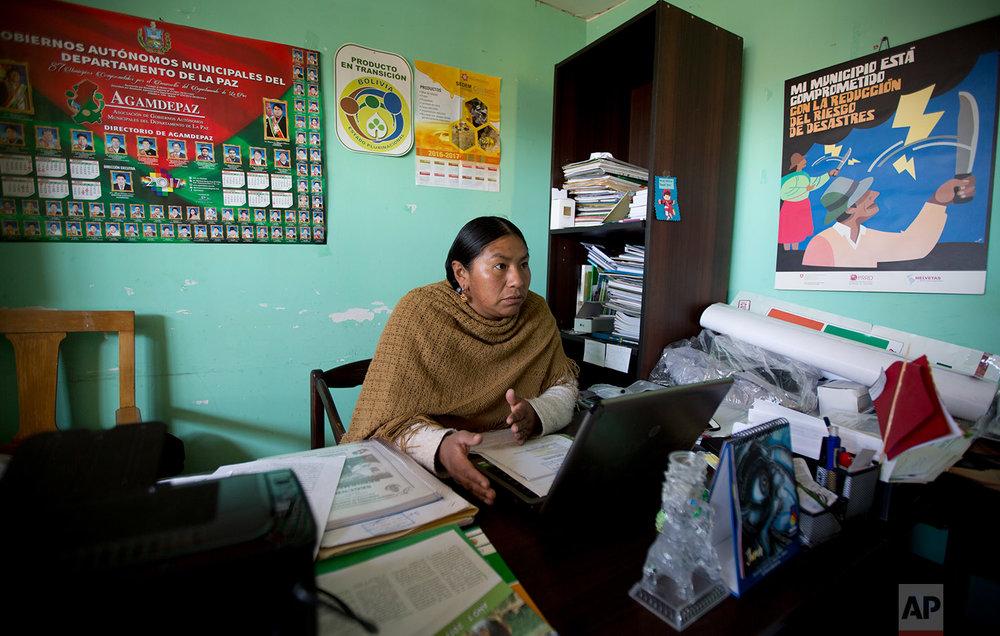 In this June 23, 2018 photo, Councilwoman Mary de la Cruz, speaks during an interview, in Achocalla, Bolivia. (AP Photo/Juan Karita)