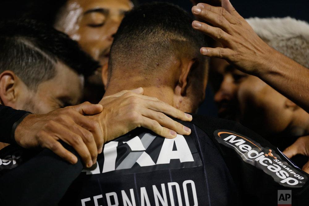 Luiz Fernando of Brazil's Botafogo celebrates his goal against Paraguay's Nacional during a Copa Sudamericana soccer game in Asuncion, Paraguay, Aug. 1, 2018. (AP Photo/Jorge Saenz)