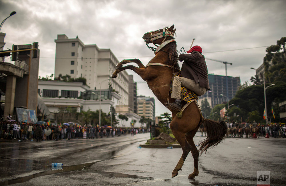 A man rides a rearing horse as hundreds of thousands gather to welcome returning leaders of the once-banned Oromo Liberation Front (OLF) in the capital Addis Ababa, Ethiopia on Saturday, Sept. 15, 2018. The OLF and two other organizations were removed from a list of terror groups earlier in the year after Prime Minister Abiy Ahmed took office, amid sweeping reforms to bring opposition groups back to politics. (AP Photo/Mulugeta Ayene)