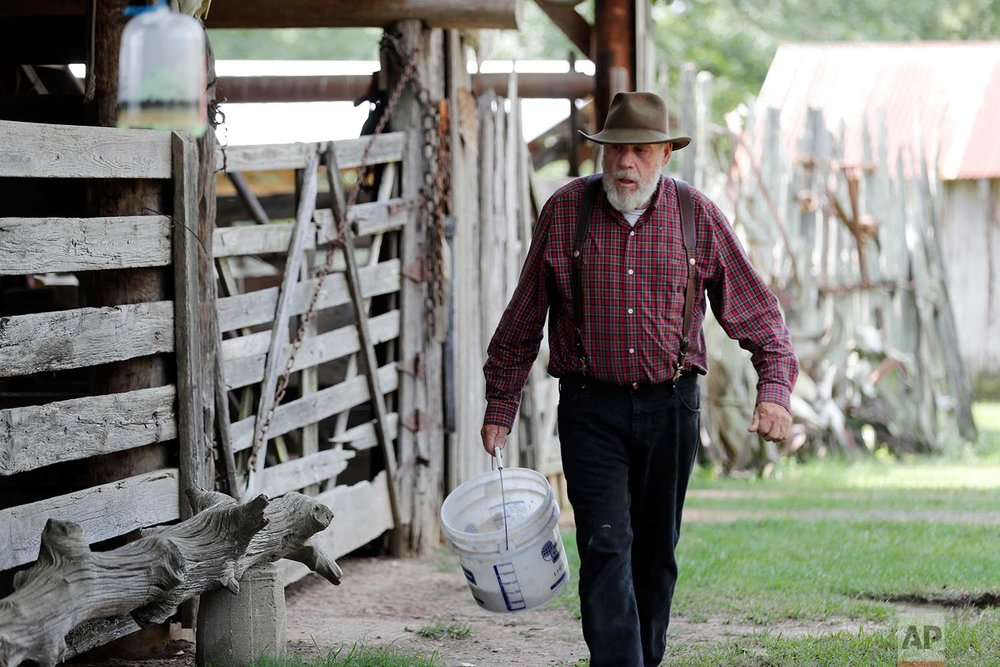In this July 17, 2018, photo, Bill Frank Brown walks to feed his horses on his farm in Poplarville, Miss. (AP Photo/Gerald Herbert)
