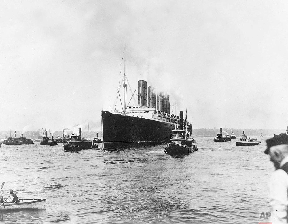 In this May 1, 1915  photo, the British cargo and passenger ship Lusitania as it sets out for England on its last voyage from New York City. The British ocean liner was sunk off Ireland on May 7, 1915 by a German U-Boat, killing 1,150 people, 114 of them Americans.  (AP Photo)