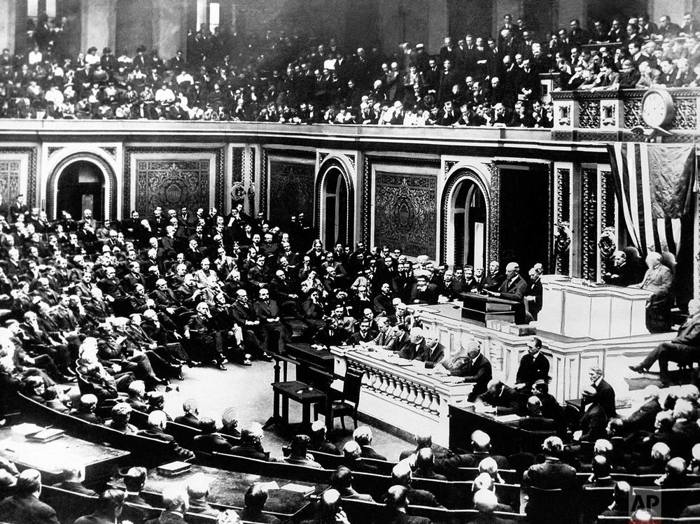 In this April 2, 1917 photo, President Woodrow Wilson delivers a speech to the joint session of Congress, in Washington, United States, during World War One. (AP Photo)