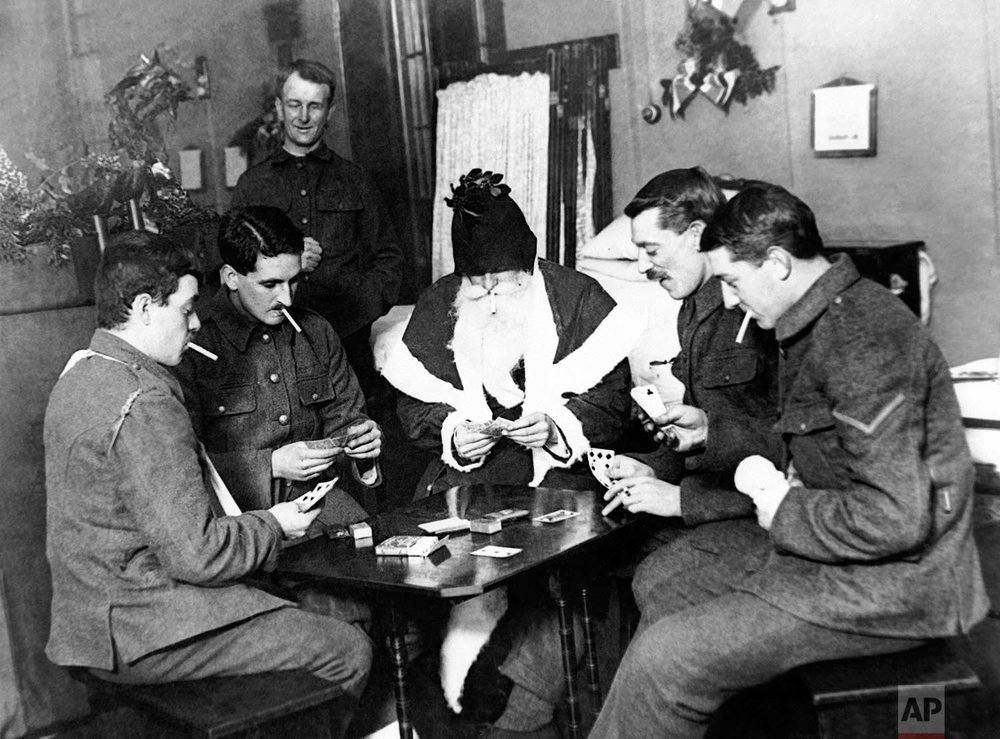 In this undated photo, wounded World War One soldiers play a game at a London hospital. (AP Photo)