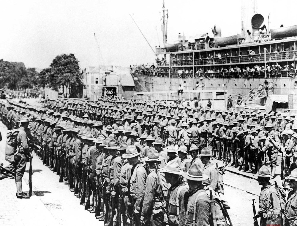 In this June 1917 photo, the first troops of the American Expeditionary Force land at the French port of St. Nazaire, France. (AP Photo)
