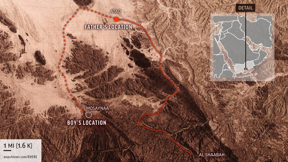Locations of Abdullah and his father around the time that the boy sent his father the text message. (AP Graphic/Peter Hamlin)