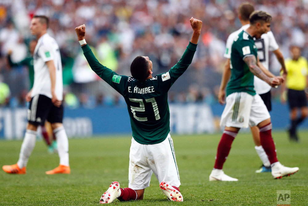 Mexico's Edson Alvarez celebrates after his team won the group F match against Germany at the 2018 soccer World Cup in the Luzhniki Stadium in Moscow, Russia, on June 17, 2018. (AP Photo/Matthias Schrader)