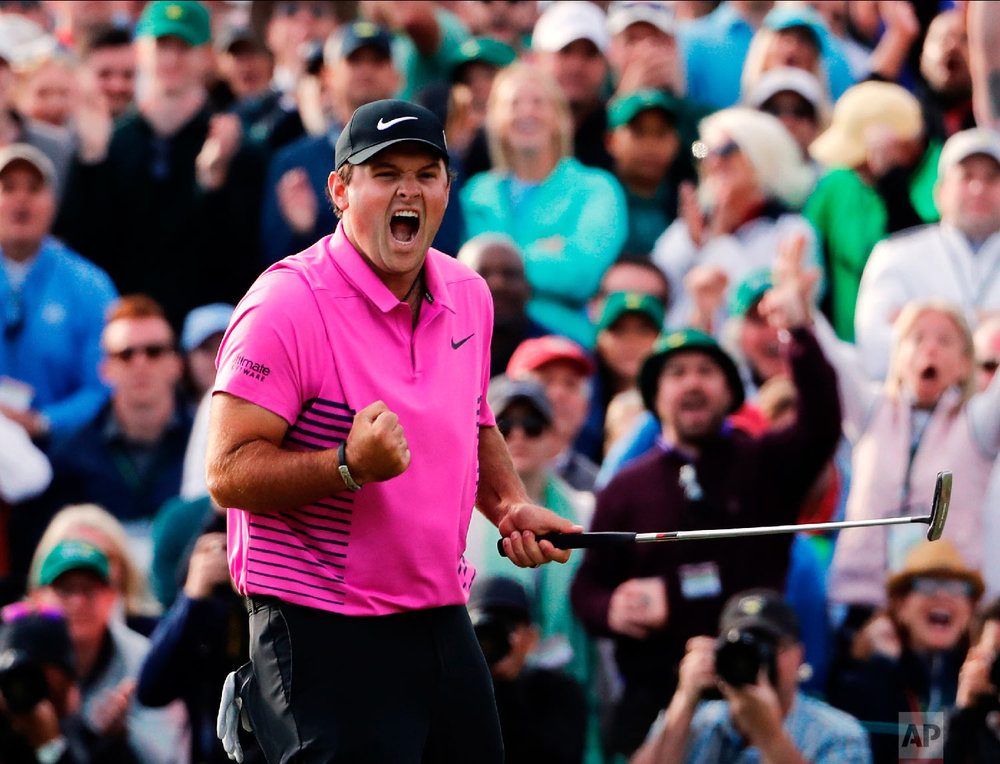 Patrick Reed celebrates after winning the Masters golf tournament on April 8, 2018, in Augusta, Ga. (AP Photo/David Goldman)