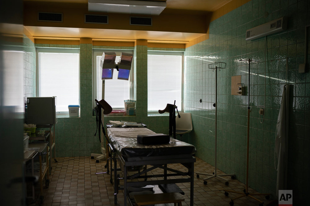 An empty delivery room is pictured on Nov. 15, 2018, in the Trebisov hospital in Trebisov, Slovakia. (AP Photo/Felipe Dana)