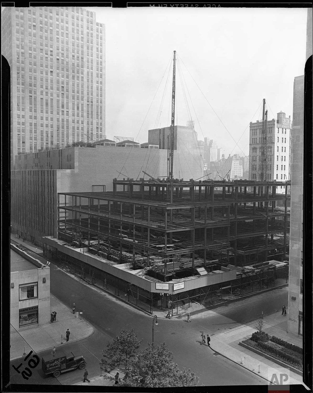 The new Associated Press building is shown under construction at Rockefeller Center, New York, May 17, 1938. (AP Photo/Corporate Archives)
