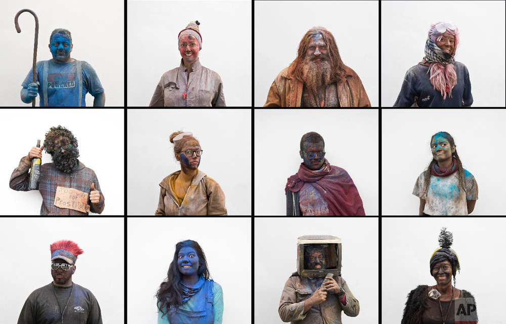 A combination of twelve photos revelers pose for portraits as they participate in the flour war, a unique colorful flour fight marking the end of the carnival season in the port town of Galaxidi, some 200 kilometers (120 miles) west of Athens on Feb. 19, 2018. (AP Photo/Petros Giannakouris)