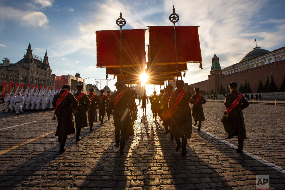 Russian soldiers dressed in Red Army World War II uniforms march during a rehearsal of the Nov. 7 parade in Red Square, in Moscow, Russia on Nov. 5, 2018. (AP Photo/Alexander Zemlianichenko)