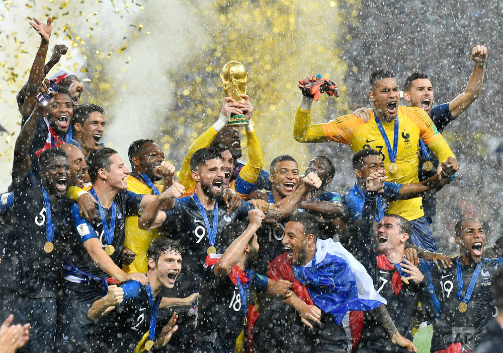 France goalkeeper Hugo Lloris lifts the trophy after France won 4-2 during the final match between France and Croatia at the 2018 soccer World Cup in the Luzhniki Stadium in Moscow, Russia on July 15, 2018. (AP Photo/Martin Meissner)