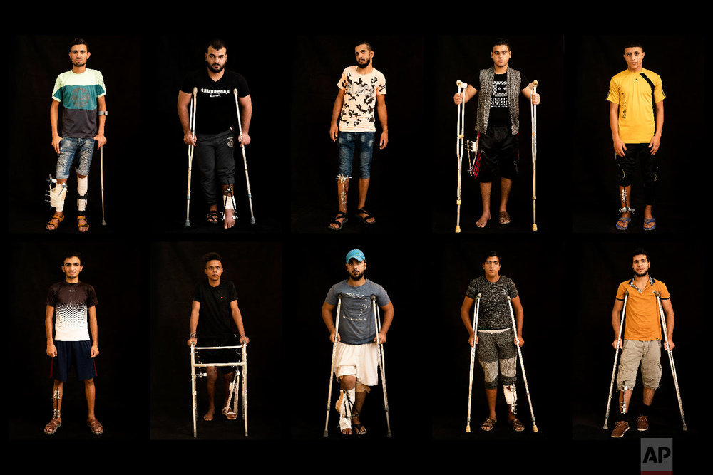 In this combination of 10 photos taken on Sept. 19, 2018, Palestinians shot in the legs during demonstrations at the Gaza strip's border with Israel pose as they await treatment at a Gaza City clinic run by MSF (Doctors Without Borders). Israeli forces deployed along the volatile border have fired live rounds at rock-throwing Palestinian protesters since demonstrations began in March against Israel's long-running blockade of Gaza. Israeli snipers have targeted one part of the body more than any other: the legs. (AP Photo/Felipe Dana)