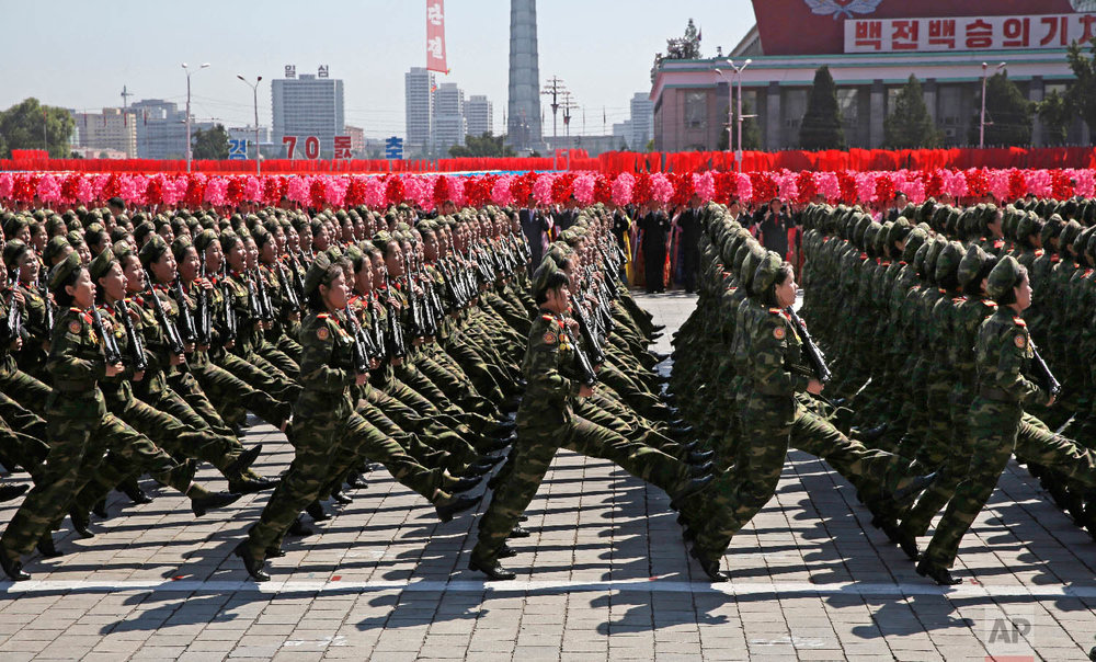 North Korean soldiers march during a parade for the 70th anniversary of North Korea's founding day in Pyongyang, North Korea, on Sept. 9, 2018. (AP Photo/Kin Cheung)