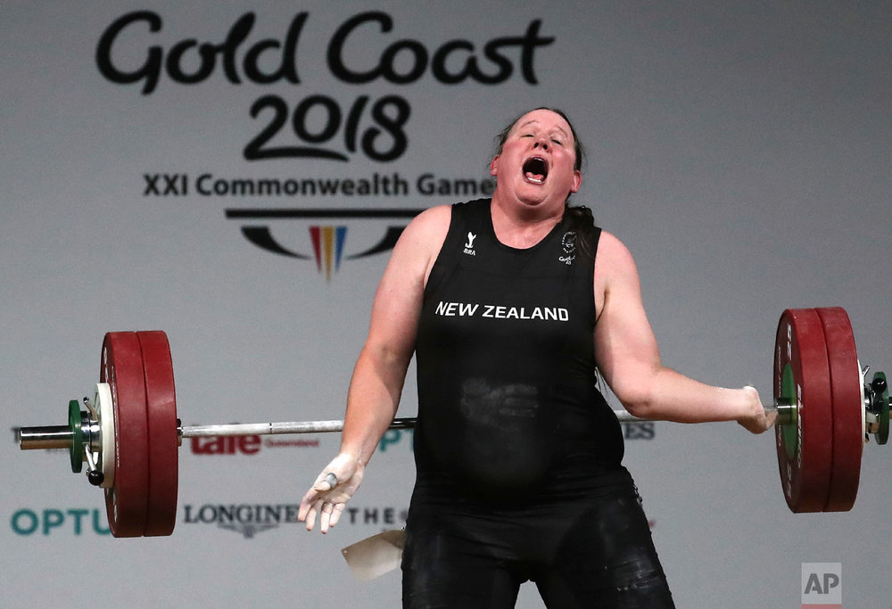 In this April 9, 2018 photo, New Zealand's Laurel Hubbard reacts after failing to make a lift in the snatch of the women's +90kg weightlifting final at the 2018 Commonwealth Games on the Gold Coast, Australia. (AP Photo/Manish Swarup, File)