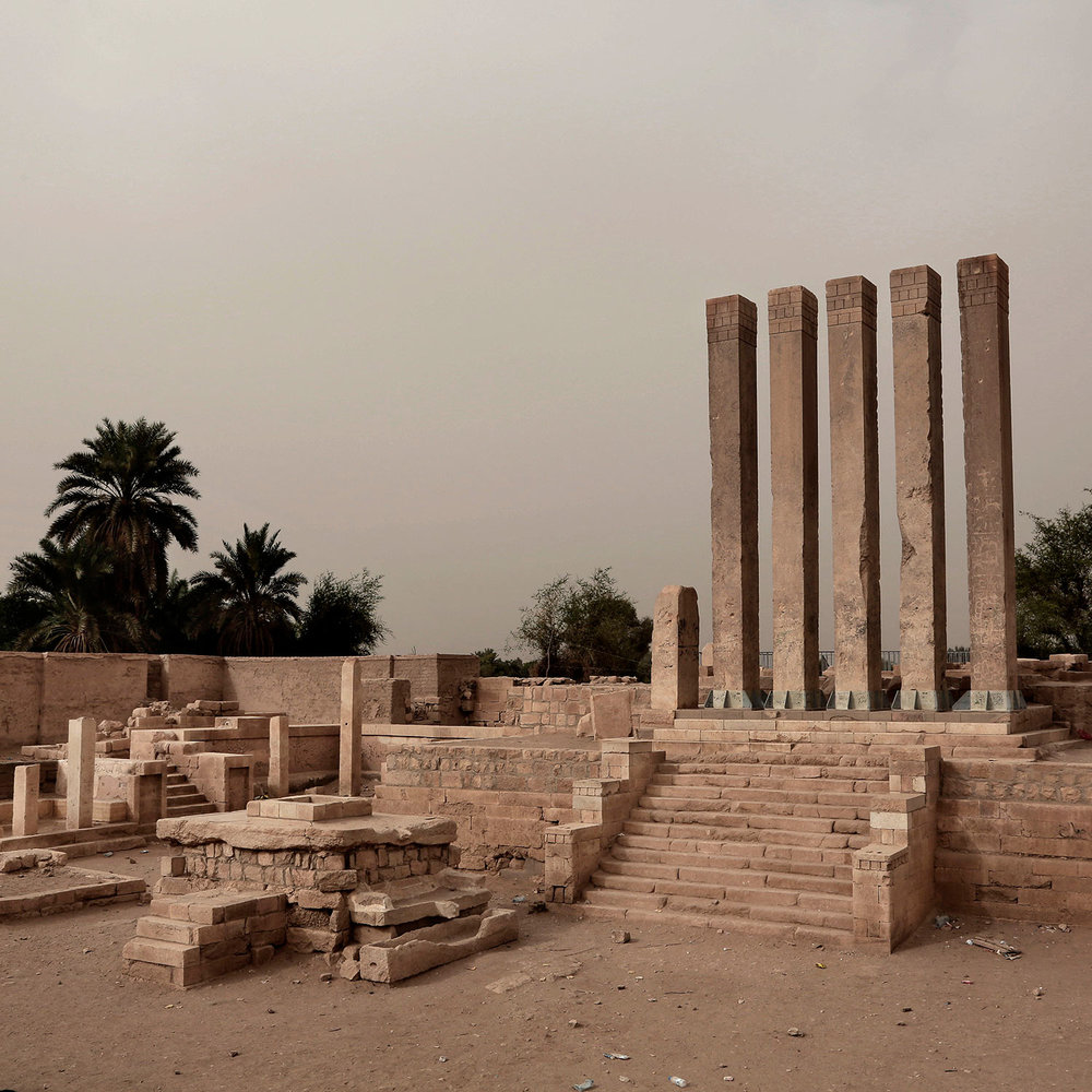 This July 30, 2018 photo, shows ancient Bilqis Temple or the Sanctuary of the Queen of Sheeba, in Marib, Yemen. (AP Photo/Nariman El-Mofty)