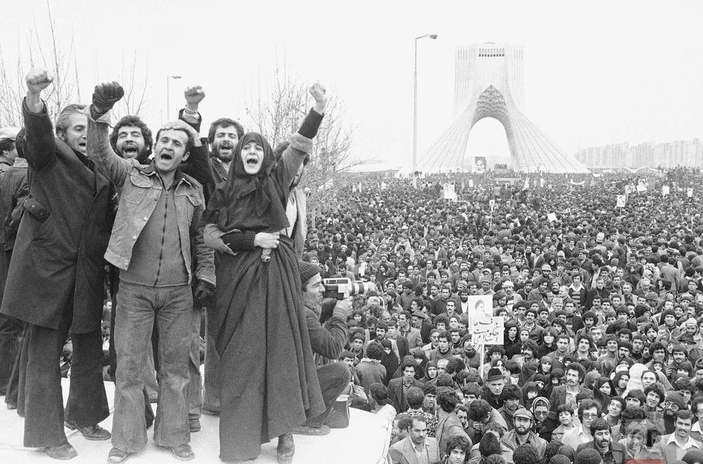 In this Jan. 19, 1979 photo, more than a million supporters of an Islamic Republic assembled around the Shayad monument, in Tehran, Iran.  (AP Photo/Aristotle Saris)
