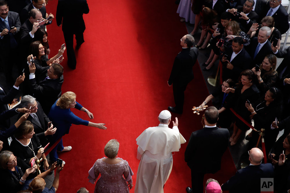 Pope Francis arrives at the foreign ministry headquarters Palacio Bolivar, in Panama City, Jan. 24, 2019. (AP Photo/Alessandra Tarantino)