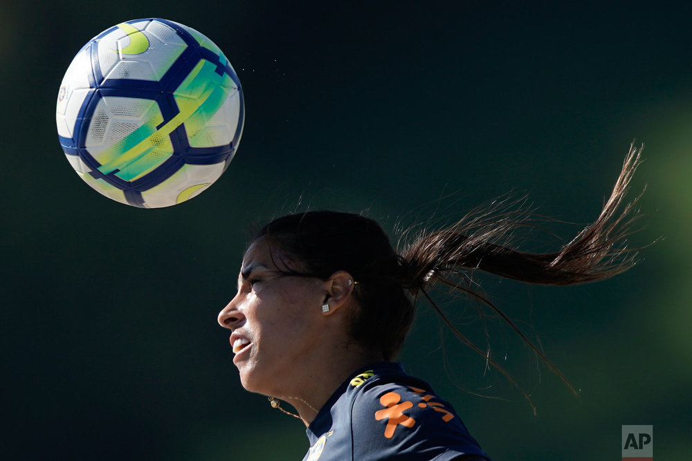 Brazil's Fabiana trains with her Brazilian national soccer team ahead of the women's World Cup in France in Teresopolis, Brazil, Jan. 22, 2019. (AP Photo/Leo Correa)