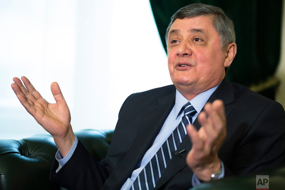Russian presidential envoy to Afghanistan Zamir Kabulov speaks during an interview with The Associated Press in Moscow, Russia on Feb. 13, 2019. (AP Photo/Alexander Zemlianichenko)