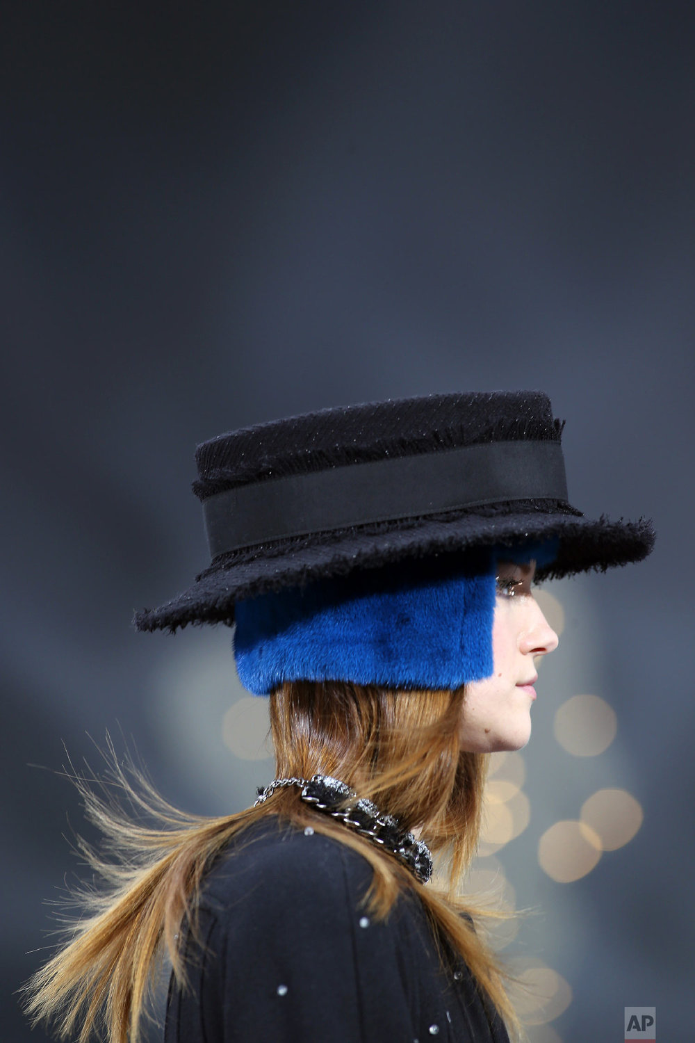 A model wears a creation by Lagerfeld in Paris, March, 5, 2013. (AP Photo/Thibault Camus)