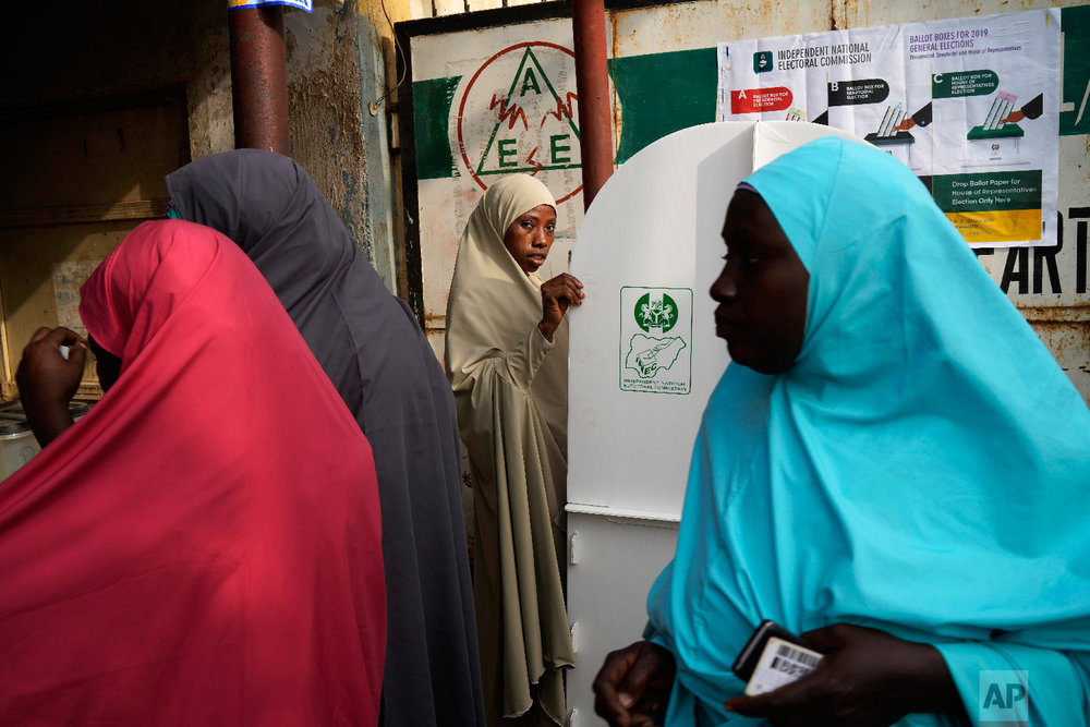 Nigerian women vote in Kaduna, Nigeria, Feb. 23, 2019. (AP Photo/Jerome Delay)