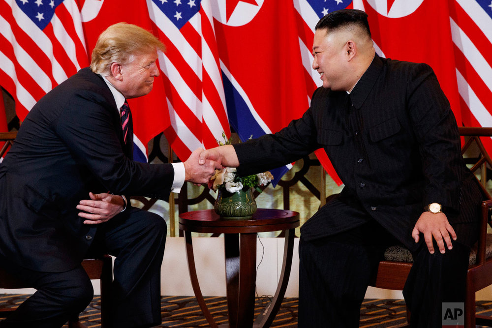 U.S. President Donald Trump shakes hands with North Korean leader Kim Jong Un, Wednesday, Feb. 27, 2019, in Hanoi. (AP Photo/ Evan Vucci)