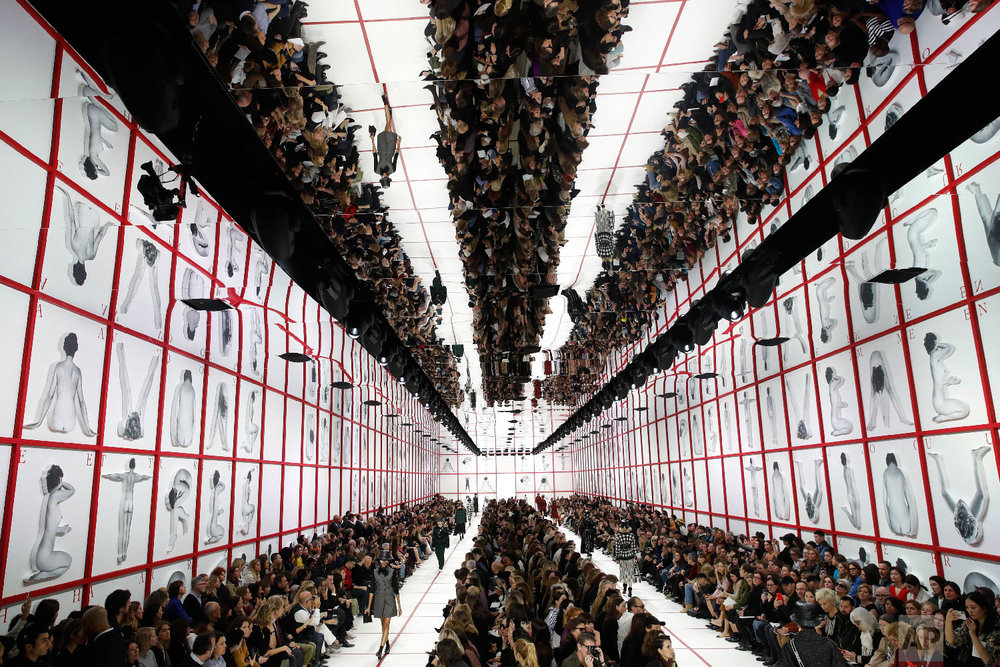 Models wear creations as part of the Dior ready to wear Fall-Winter 2019-2020 collection, that was presented in Paris, Tuesday, Feb. 26, 2019. (AP Photo/Christophe Ena)