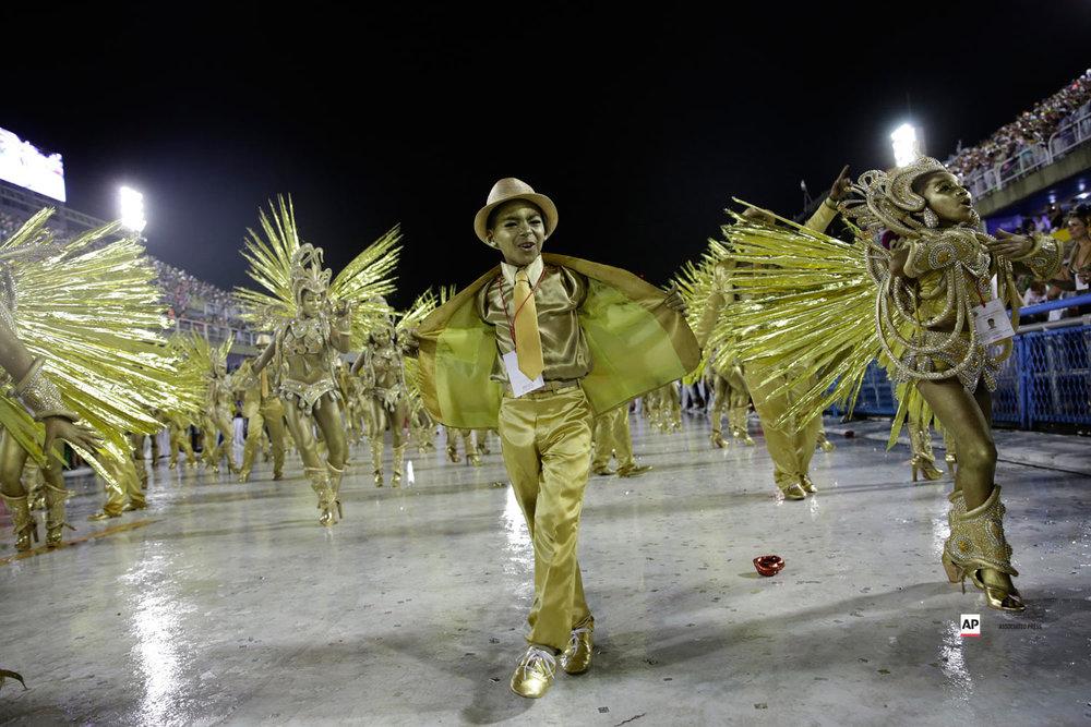 Performers from the Viradouro samba school parade during Carnival celebrations at the sambadrome in Rio de Janeiro, Brazil, Sunday, March 3, 2019. (AP Photo/Silvia Izquierdo)