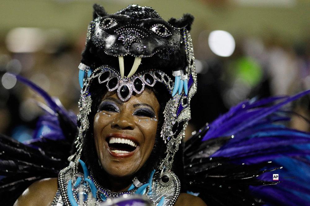 A performer from the Beija Flor samba school parades during Carnival celebrations at the Sambadrome in Rio de Janeiro, Brazil, Monday, March 4, 2019. (AP Photo/Leo Correa)
