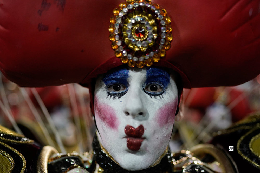 A performer from the Viradouro samba school parades during Carnival celebrations at the Sambadrome in Rio de Janeiro, Brazil, Sunday, March 3, 2019. (AP Photo/Leo Correa)