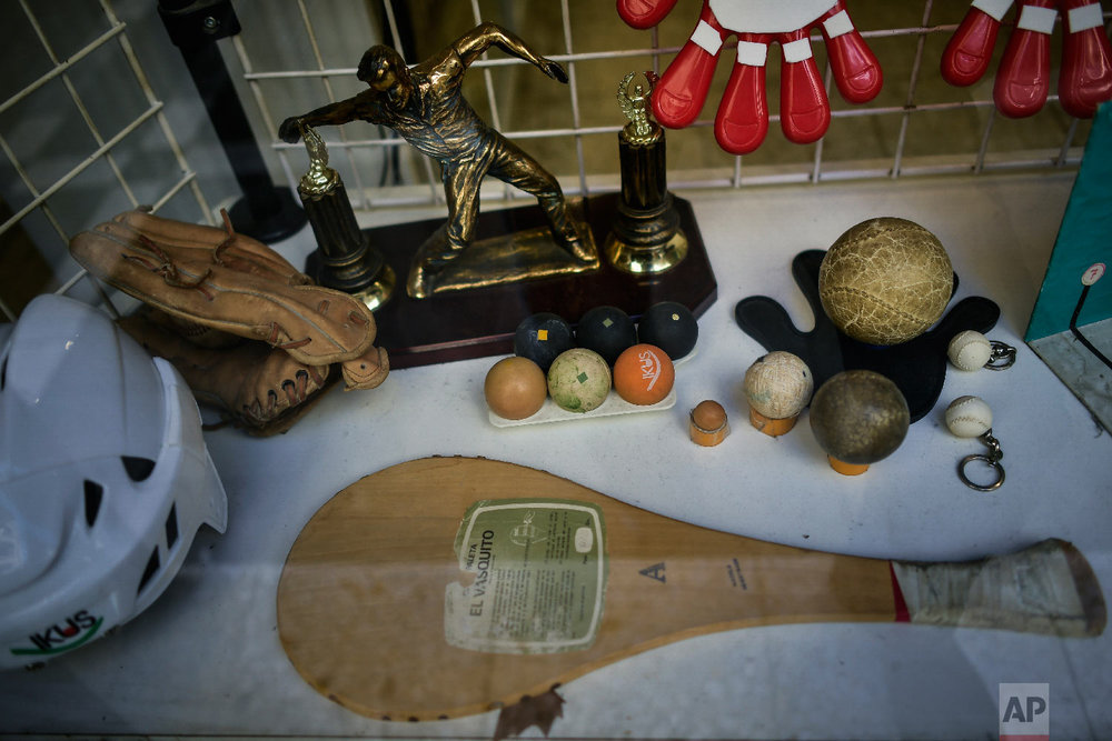 Basque Balls items are displayed at a store in Pamplona, Spain on Feb. 28, 2019. (AP Photo/Alvaro Barrientos)